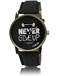 Analogue Black Dial Leather Belt With Never Give Up Printed Casual Stylist Wrist Watch For Gym Lover Boys And...