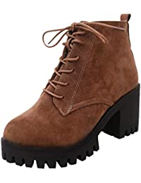 03c6b717edc Logobeing Botines de Cuero con Cordones Antideslizantes con Punta Redonda  para Mujer Zapatos Martin Casual Moda