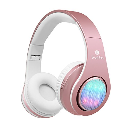 Bluetooth Kopfhörer, Ifecco LED Over Ear Headset Wirless Ohrpolster Kopfhörer mit 3 LED und eingebautes Mikrofon Kompatibel mit Allen Gängigen Smartphones/Tablets/Notebooks (Golden Rose) - Wired-oder Mic Wireless