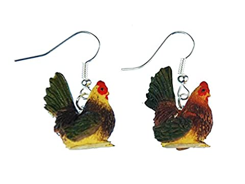 Poule Boucles d'oreilles Poules miniblings œuf Ferme Farm poule coq–Boucles d'Oreilles Pendantes Multicolore