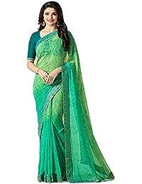 Hinayat Fashion Chiffon Saree with Blouse Piece, Free Size, (Green)