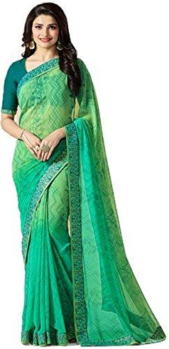 Hinayat Fashion Chiffon Saree With Blouse Piece (Green_Free Size)
