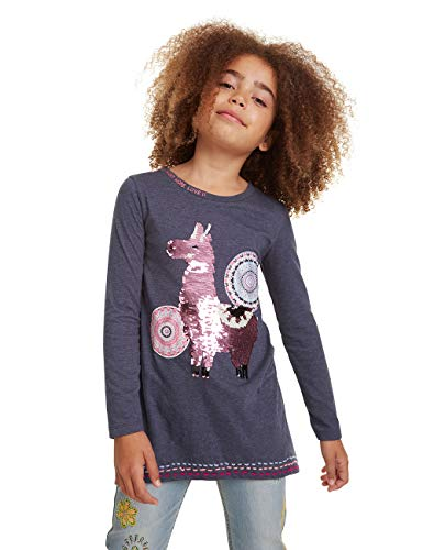 Desigual Mädchen T-Shirt Nicolas Langarmshirt, Grau (Gris Oscuro 2006), 140 (Herstellergröße: 9/10)