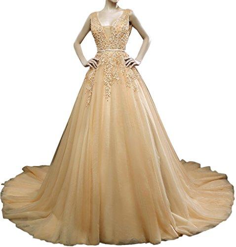 Promgirl House Damen Huebsch Champagner Spitze A-Linie Abendkleider Ballkleider Hochzeitskleider Lang Weiß