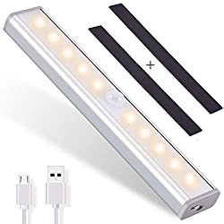 OUSFOT Motion Sensor Closet Light, 10-LED Cabinet Night Lights Wireless USB Rechargeable with 2 Magnetic Strips Portable Stick-on Wardrobe Stairs Wall Shelves Kitchen