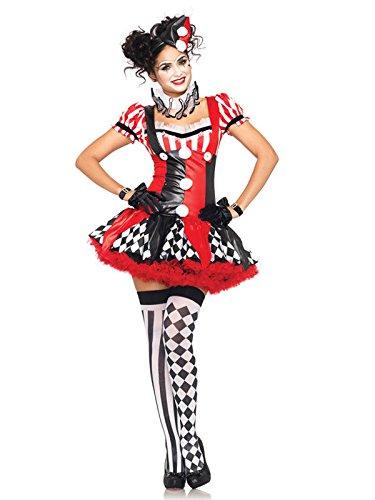 Sexy Harlekin Damenkostüm Clown schwarz rot weiss S