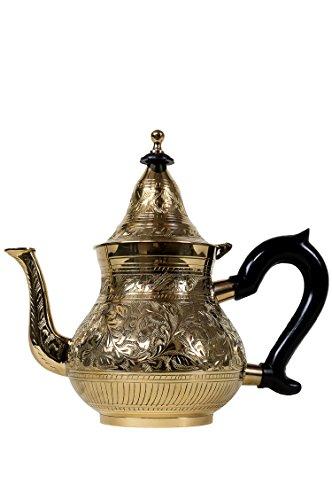 Marrakesch Orient & Mediterran Interior ® Marokkanische Teekanne aus Messing 1000ml mit Sieb und Kunststoffgriff | Orientalische Kanne Abidin Gold 1L mit Deckel | Verschiedene Grössen | (1000ml) Gold Teekanne