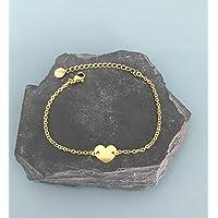 Bracciale gourmette cuore oro 24k, bracciale donna, idea regalo, gioielli regali, cuore gioiello, bracciale in oro, bracciale cuore in oro