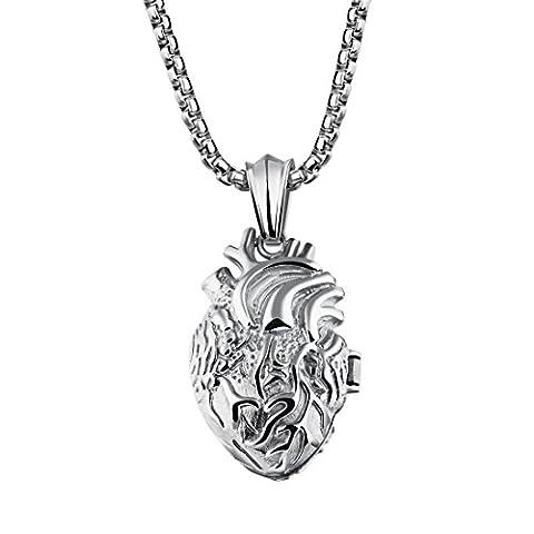 PAMTIER Herren Edelstahl Anatomische Herz Halskette Öffenbar Orgel Anhänger Urne Paare Silber Kleiner Stil