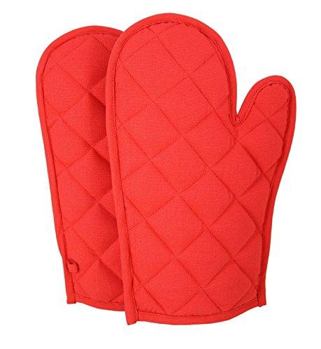 Shalinindia cotone guanti mezzi del forno Set di 2 trapuntato guanti da cucina, OG02-6904P, Rosso, 8 x12 pollici