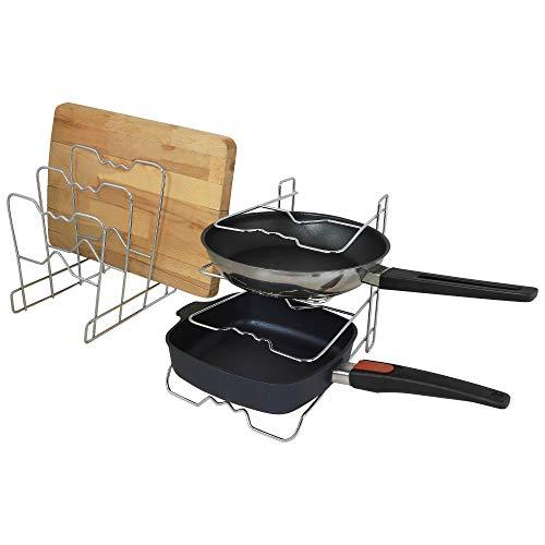 UPP Küchen- und Pfannenhalter 2er Set SPARSET- aus Chromstahl - je 30x21x25cm & 4 Etagen