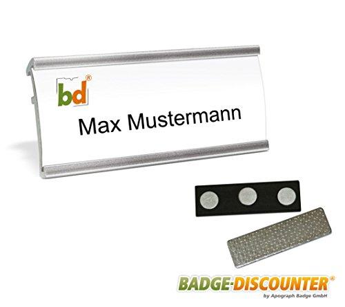 Aluminium Namensschilder Komplettset NMSG silber magnetisch 10 Stück zum Anstecken an Kleidung Schild zum Bedrucken mit 3-Punkt Magnet, Clip, Nadel, Magnetnamensschild Namensschilder Magnet 72x32mm (Punkt-magnete)