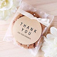 CozofLuv 11.5 x 11.5+3 cm Self-Adhesive White Plastic Bags for Biscuits (100 Bags + 102 Thank You/Thank You Labels), Cookie Bags for Christmas Party