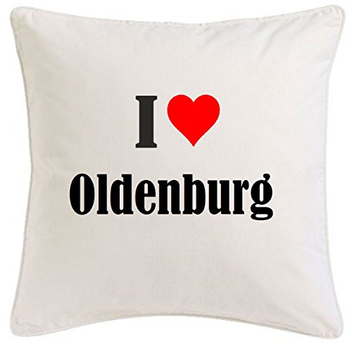 Kissenbezug I Love Oldenburg 40cmx40cm aus Mikrofaser ideales Geschenk und geschmackvolle Dekoration für jedes Wohnzimmer oder Schlafzimmer in Weiß mit Reißverschluss