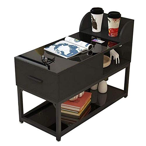 YDHZ Tisch Beistelltisch, Mit Schubladensitz Tisch Gehärtetes Glas Metallrahmen Haushalt Nachttisch Sofa Armlehne,Wie Gezeigt,90 * 40 * 55 cm -