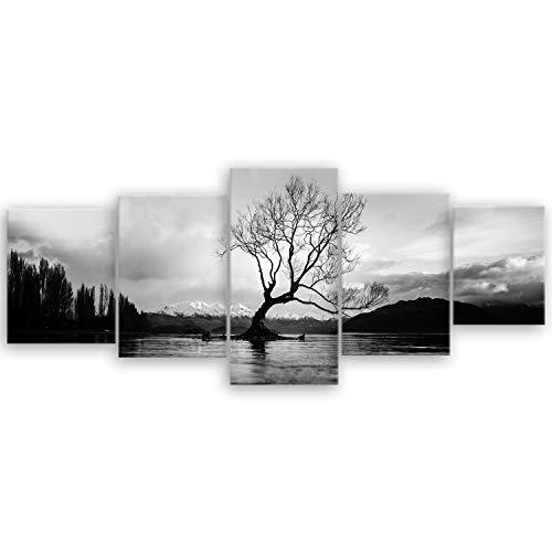 ge Bildet® hochwertiges Leinwandbild XXL - The Wanaka Tree - Neuseeland - schwarz weiß - 200 x 80 cm mehrteilig (5 teilig)