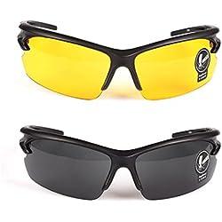 2 Pares Gafas de Sol Unisex Visión Nocturna Lentes Amarillas Sin Polarizar Antideslumbrante Protección UV400 Conducción Disparos de Pesca Esquí de Caza Gafas Deportes al Aire Libre para Hombres Mujere