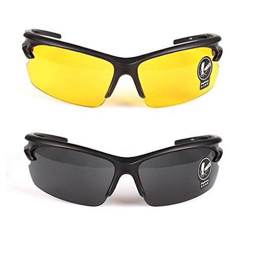2 paires lunettes de soleil unisexes lunettes de vision nocturne polarisées, anti-éblouissement UV400 protection conduite pêche tir Chasse Ski Sports de plein air lunettes, pour hommes femmes, jaune + gris