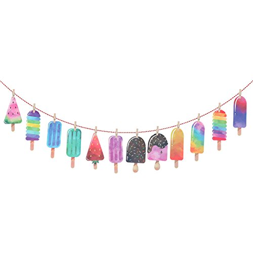 er Papier Popsicle Banner Garland Ideal für Luau Tiki Party Supplies Sommer Party Hintergrund Dekoration ()