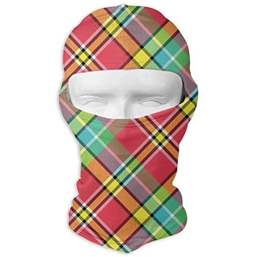 Rghkjlp Madras Bright Color Plaid Fabric Men Women Balaclava Neck Hood Full Face Mask Hat Sunscreen Windproof Breathable Quick Drying Madras Bow Tie