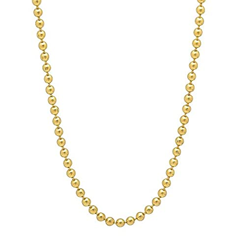 2.3mm 14k Gold Plated Ball Chain Necklace, 76 cm