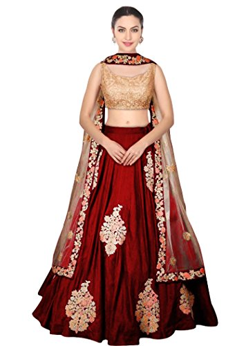 MEGHALYA Maroon Color Raw Silk Semi_Stitched Lehenga Saree For Women (Navratri &...
