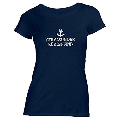 Damen T-Shirt - Stralsunder Küstenkind - Anker Stralsund Schiffsanker Küste Maritim, Navy, S
