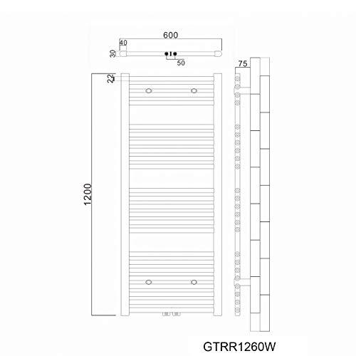 Handtuchtrockner Heizkörper Bad Mittelanschluss Handtuchwärmer Badheizkörper Weiß Gerade 60*120cm - 2