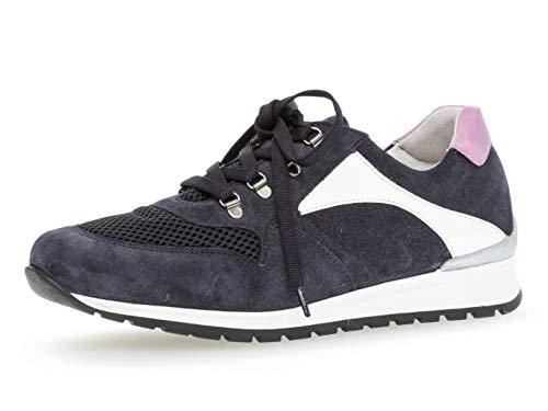 Gabor Damen Low-Top Sneaker 26.349.46, Frauen Halbschuh,Sportschuh,Schnürschuh,atmungsaktiv,Ocean/Weiss/pink,42 EU / 8 UK - Fleece-stoff Ocean