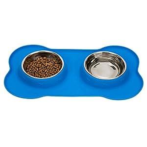 Chien Chat bols, Foxom double en acier inoxydable bols avec anti-fuites en silicone antidérapant Tapis de plateau en forme d'os de voyage pour animal domestique Nourriture Bol à eau