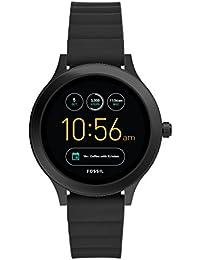 Fossil Q Venture Montre Connectée Unisexe - 3ème Génération - Boîtier Acier Inoxydable Noir avec Bracelet Silicone Noir - Compatible Android et iOS