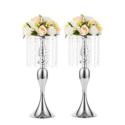Nuptio 2 Stücke 54cm Höhe Kristall Metall Vase Blume Ständer Halter Hochzeit Herzstück Kronleuchter für Empfang Tische Hochzeit Liefert, Silber
