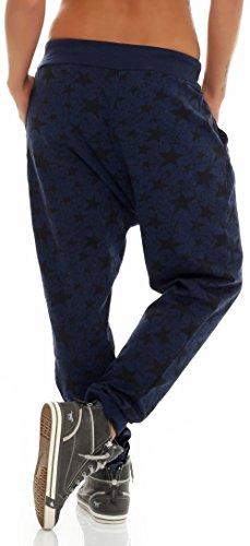 malito Damen Jogginghose mit Sternen   Baggy mit Knopfleiste   Sporthose zum Tanzen   Sweatpants �?Trainingshose 3305 Dunkelblau