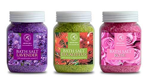 Salz Set Geschenkset 3 х 400 g Badesalz Lavendel mit Lavendelöl - Rose mit Rosenholzöl - Eukalyptus mit Eukalyptusöl - Meersalz besten für Guten Schlaf - Stressabbau - Baden - Körperpflege