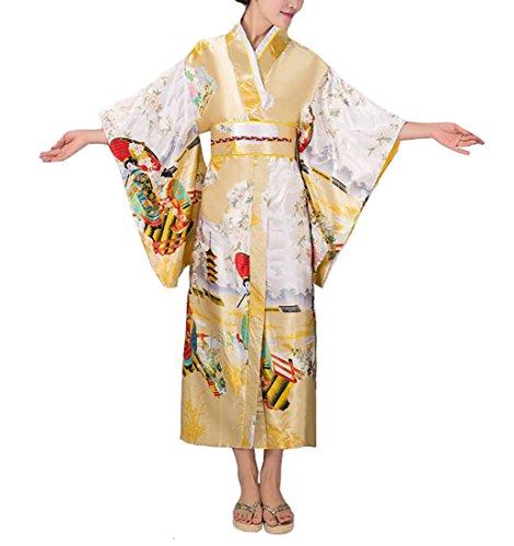 ACVIP Damen Traditional Retro Elegant Tanz Show Kostüm Spinnen Kimono (Rose Rot)