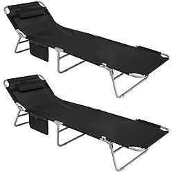 SoBuy® OGS35-Sch x2 Lot de 2 Chaises Longues Bains de soleil Transats de Jardin Pliant Chaises de Camping inclinables, pliables et réglables - Sch