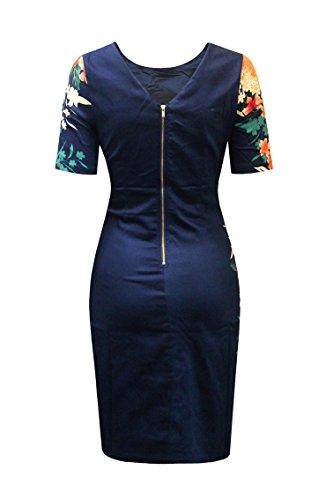 AD LIB D1436 Eden Navy Border Side Print Bodycon Dress (10)
