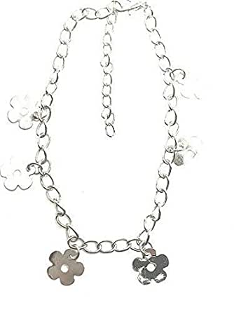 0047 Silver Colour Anklet chain with trailing daisy charms Festival Wedding Party