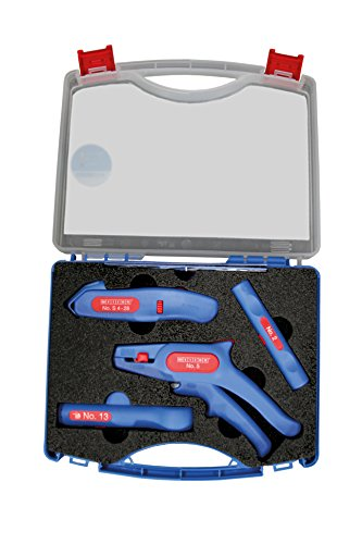 WEICON Profi-Starter Set 4 -teilig| Werkzeugset für die Hausinstallation | Abisolierzange No.5 | Coax-Stripper No.2 | Kabelmesser No. S 4-28 | Rundkabelstripper No.13 | Abisolieren | Entmanteln | Werkzeugkoffer |  TÜV | blau / rot | 100% Made in Germany