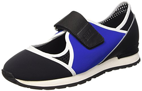 Bikkembergs Kate 664 L.Shoe Cut Out W Lycra/Leather, chaussures basses Femme Noir (Blk/Blue/Black)