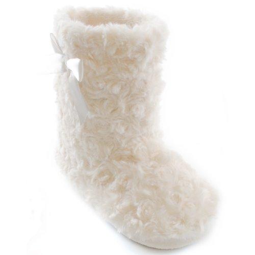 Chaussons bottes avec noeud - Fille Rose