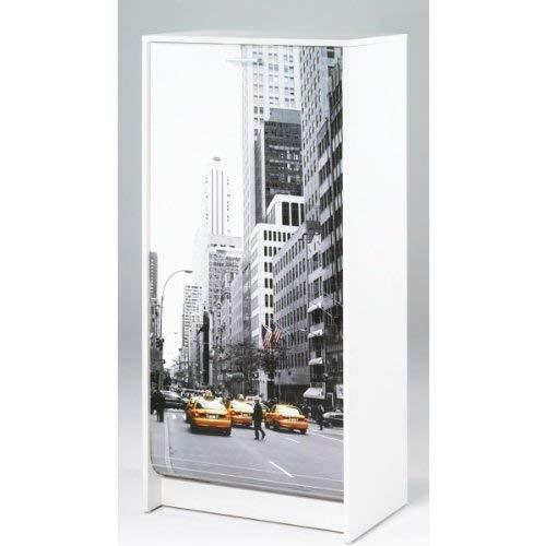 SIMMOB Meuble à Chaussures Blanc Imprimé - Coloris - Scene New York 504 Bois