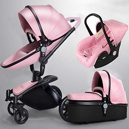 QZX Kinderwagen 3-in-1-Kinderwagen-Reisesystem Zusammenklappbarer Kinderwagen mit 360-Rotationsfunktion und leichtem Rahmen mit verstellbarem Sitz,Pink