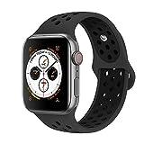 Tervoka Compatible with Apple Watch Correa 44mm 42mm, Banda Pulsera Brazalete de Repuesto de Silicona Suave Deportivo para iWatch Series 4/3/2/1, Tamaño M/L, Obsidian/Black