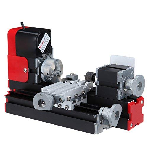 Ridgeyard - Mini tornio motorizzato per diversi materiali, ideale per lavori Fai da te.