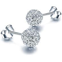 Pendientes, Blingery 925 Plata de Ley Pelota Pendientes Chapado en Oro Blanco con Diamante de Imitación