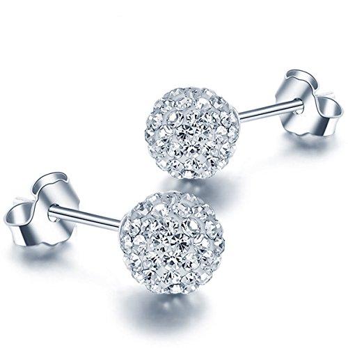 Blingery Damen 925 Silber Rhodium Plated Österreich Kristall Kugel Ohrstecker Ohrringe 6mm Schmuck Valentinstag Geschenk