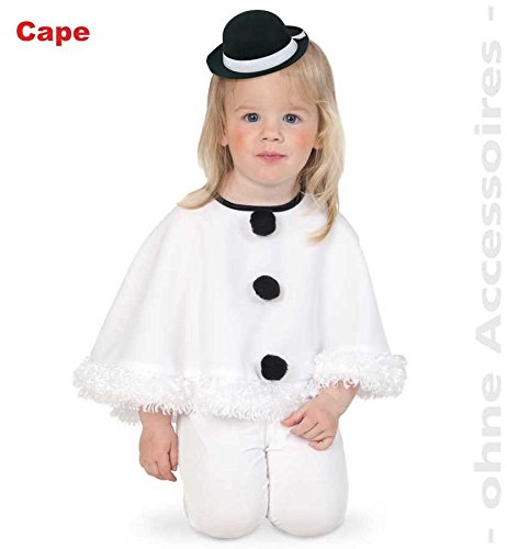 Fries Cape Schneemann Gr. 98 weißer Umhang Kleinkinder Kostüm Fasching (Schneemann Kleinkind Kostüm)
