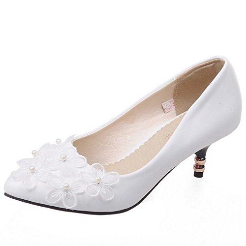 TAOFFEN Femme Elegant A Enfiler Moyen Talons Escarpins Chaussures Soiree Robe Avec Perle Blanc