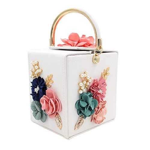 Superw Frauen Blume Kupplungen Handtaschen Designer Abendtaschen Prom Party Hochzeit Cocktail Geldbörsen mit Perlen Perlen Crossbody Taschen (Farbe : B) - Tasche Wildleder Leder Nagel